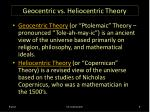 geocentric vs heliocentric theory