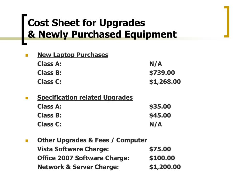 Cost Sheet for Upgrades