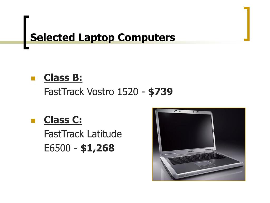 Selected Laptop Computers