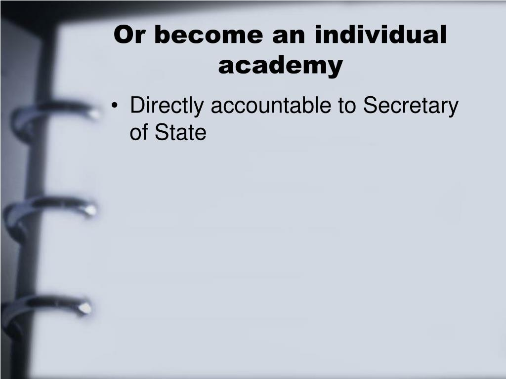 Or become an individual academy