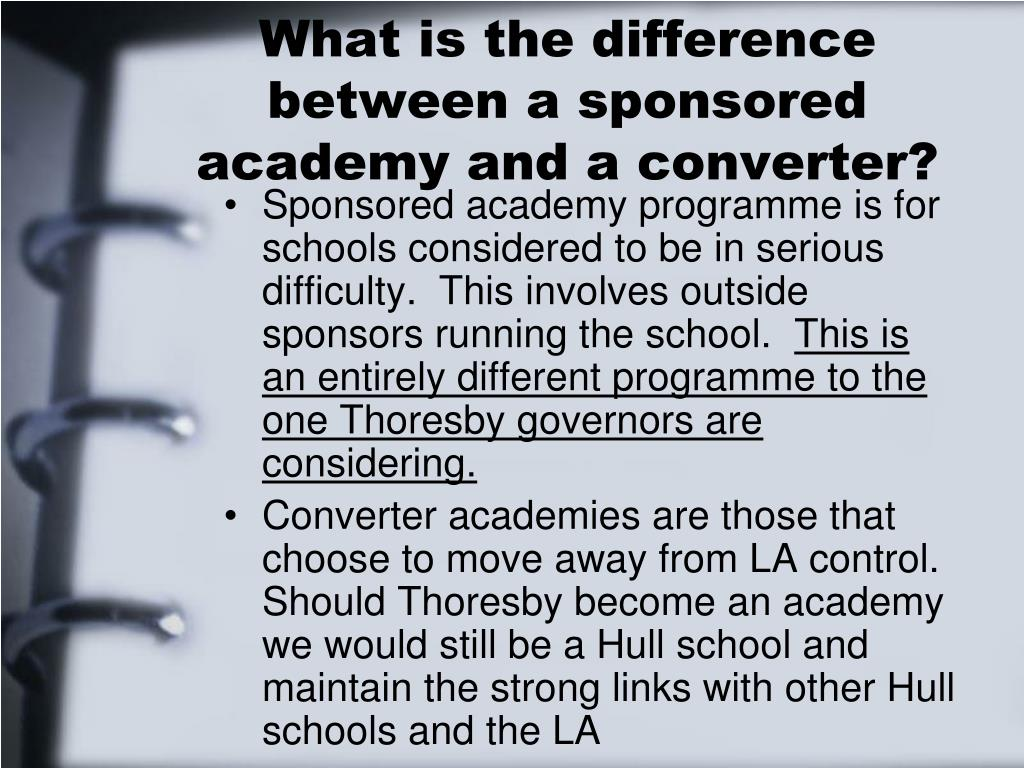 What is the difference between a sponsored academy and a converter?