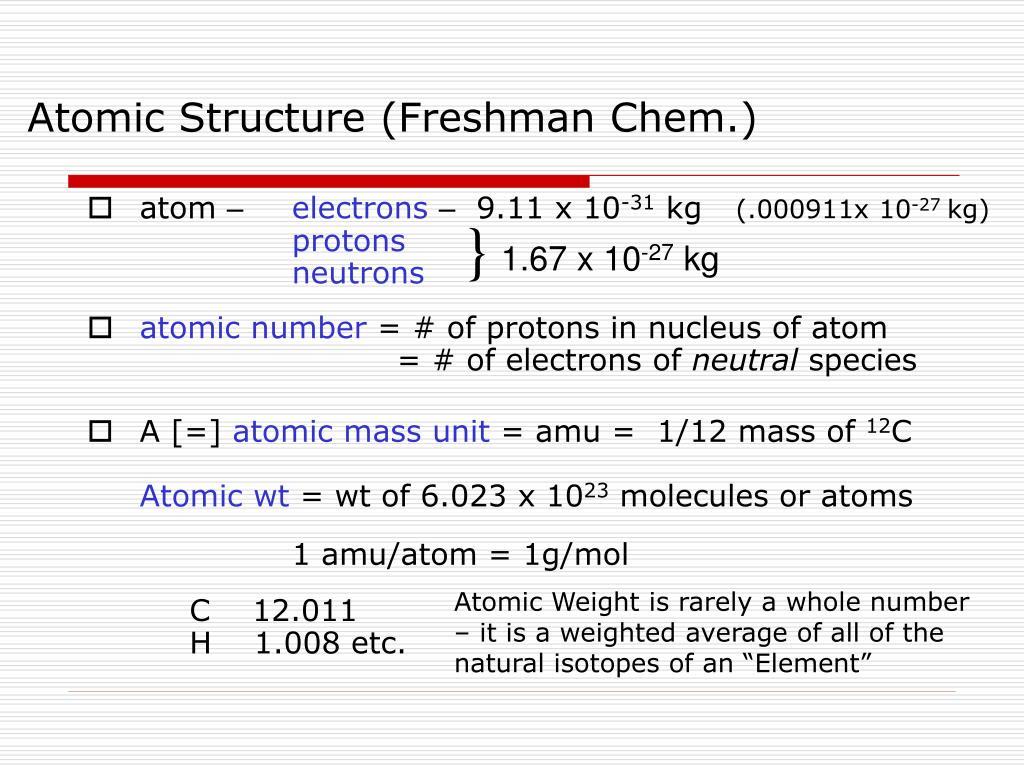 Atomic Structure (Freshman Chem.)