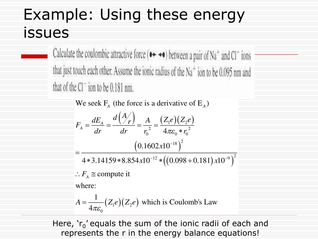 Example: Using these energy issues