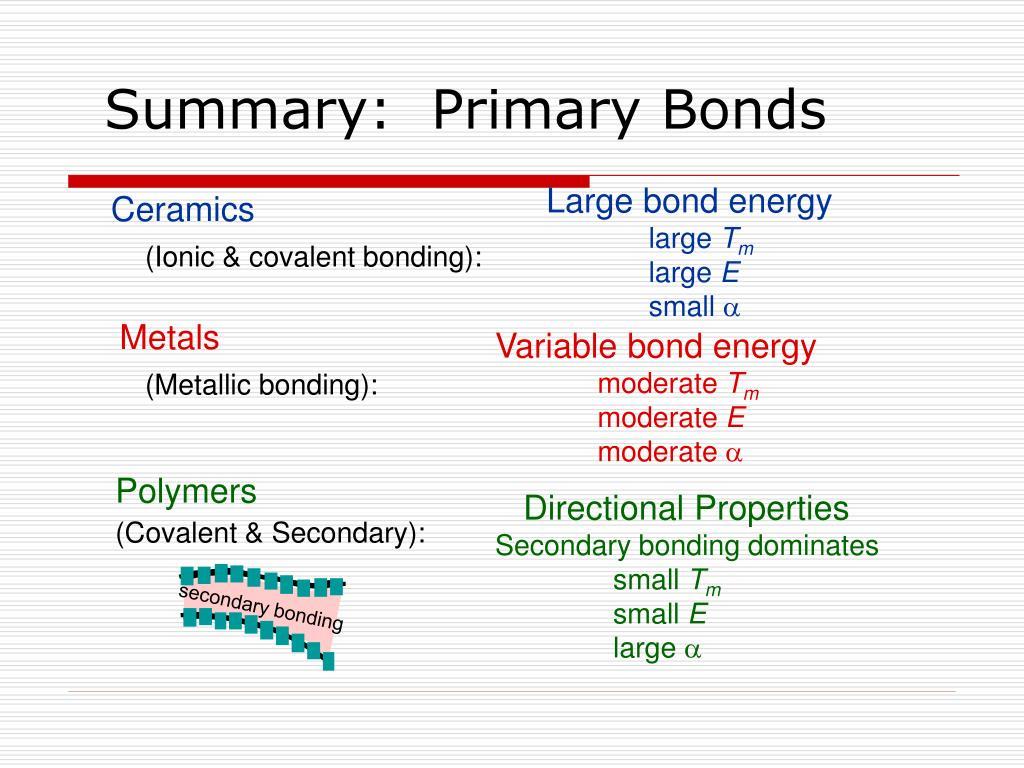 Summary:  Primary Bonds