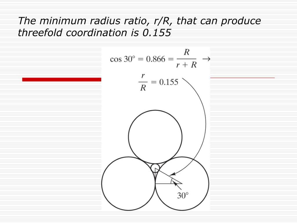 The minimum radius ratio, r/R, that can produce threefold coordination is 0.155