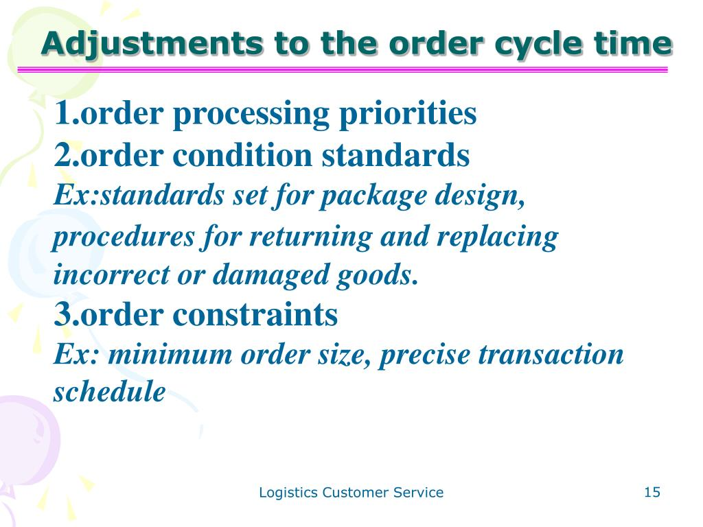 Adjustments to the order cycle time