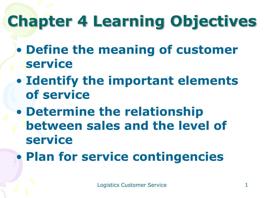 Chapter 4 Learning Objectives
