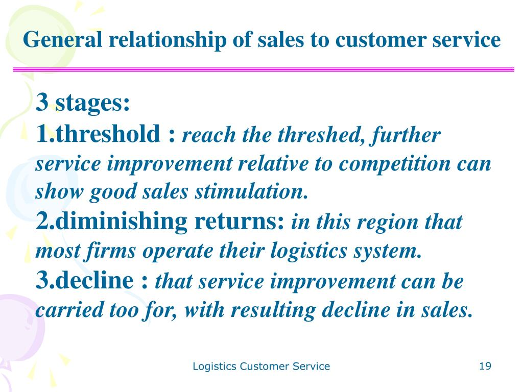 General relationship of sales to customer service