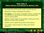 main idea 3 many factors contributed to rome s fall