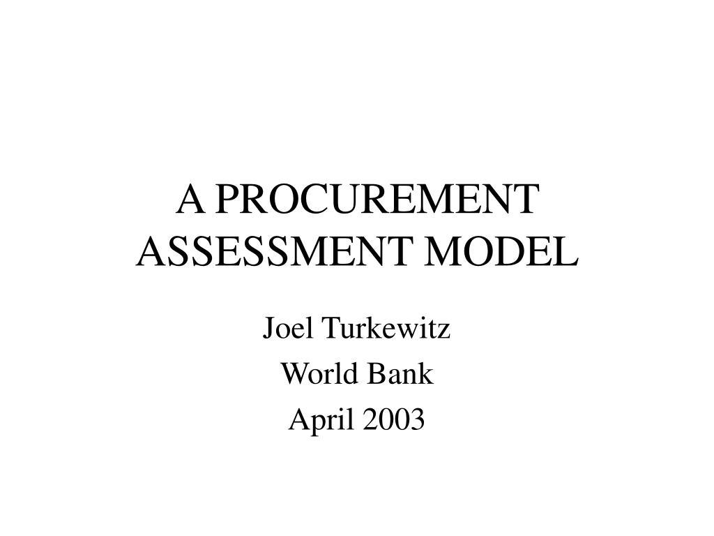 a procurement assessment model l.