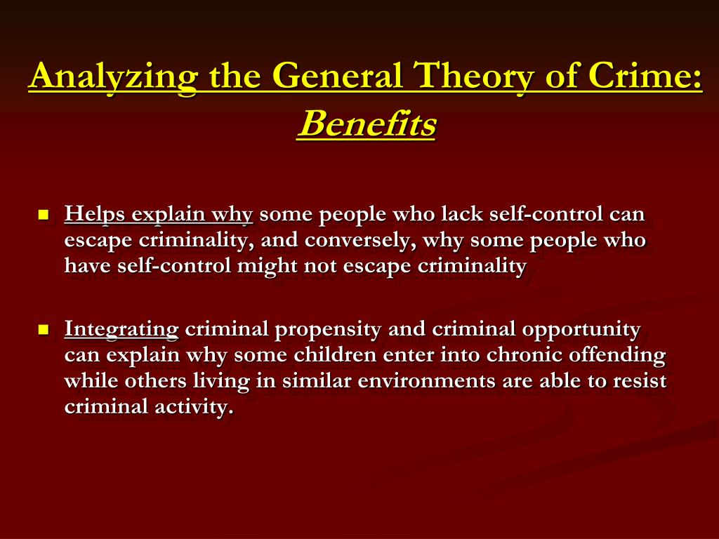 Analyzing the General Theory of Crime: