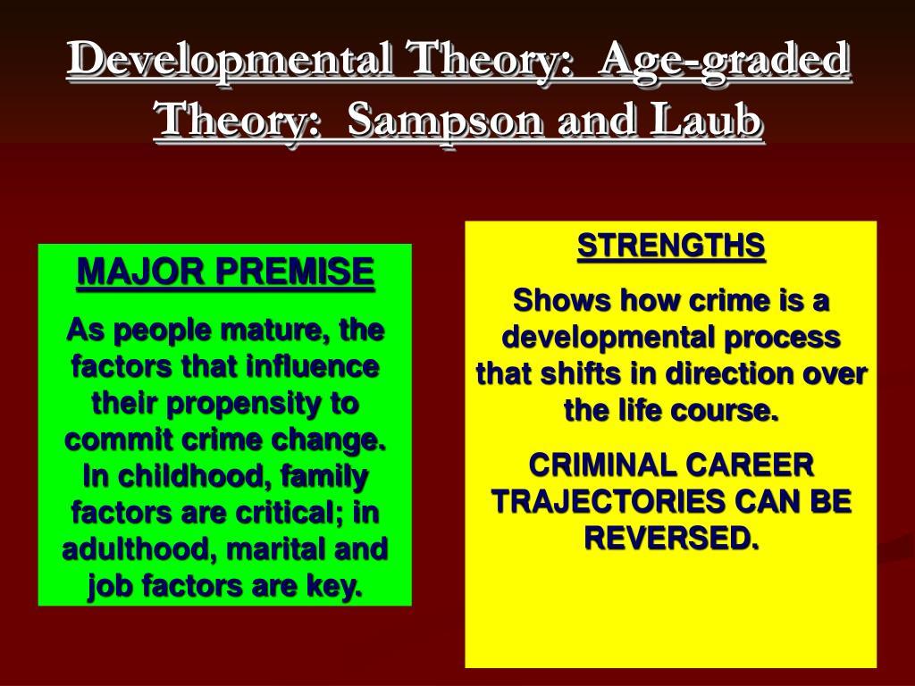 Developmental Theory:  Age-graded Theory:  Sampson and Laub