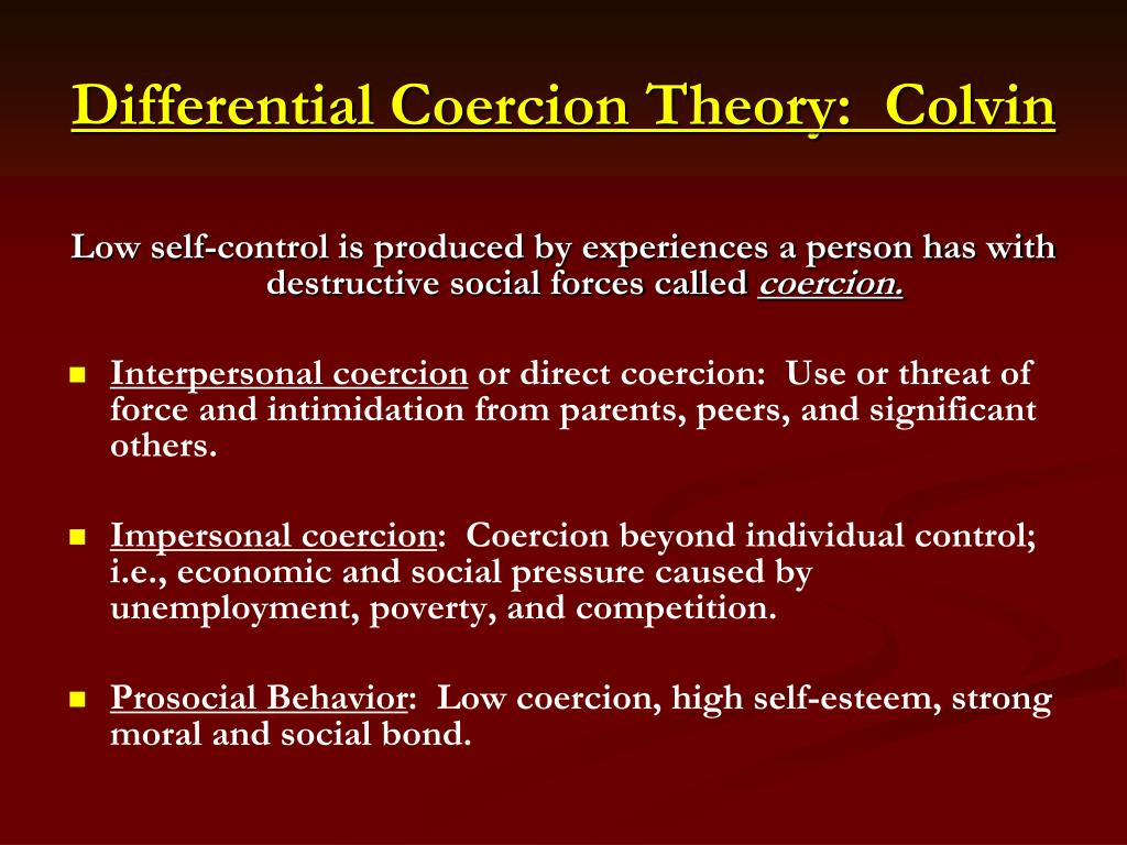 Differential Coercion Theory:  Colvin