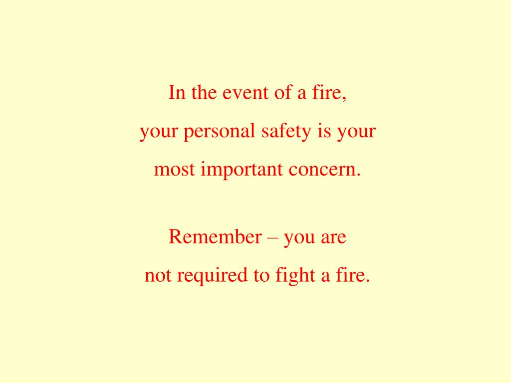 In the event of a fire,