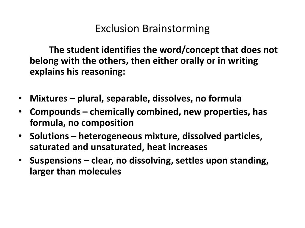 Exclusion Brainstorming