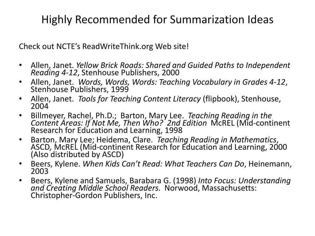 Highly Recommended for Summarization Ideas