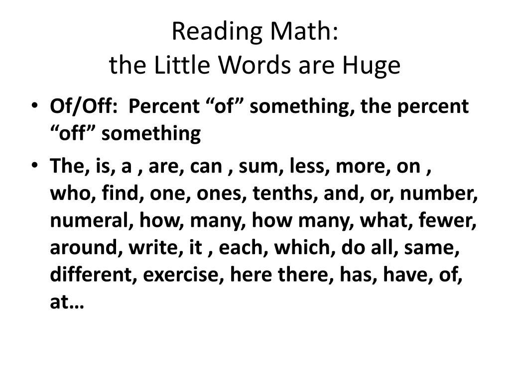 Reading Math: