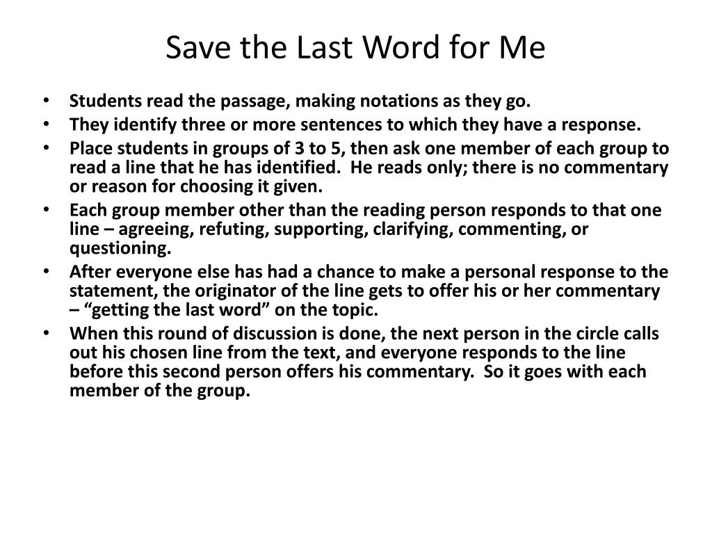 Save the Last Word for Me