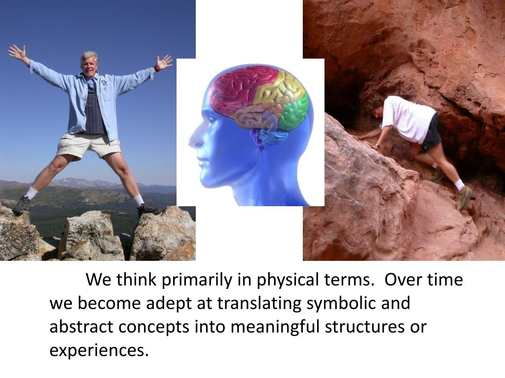 We think primarily in physical terms.  Over time we become adept at translating symbolic and abstract concepts into meaningful structures or experiences.