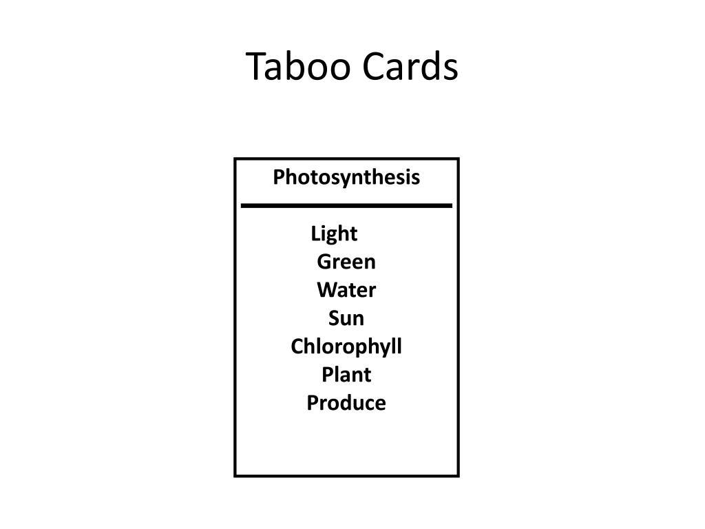 Taboo Cards