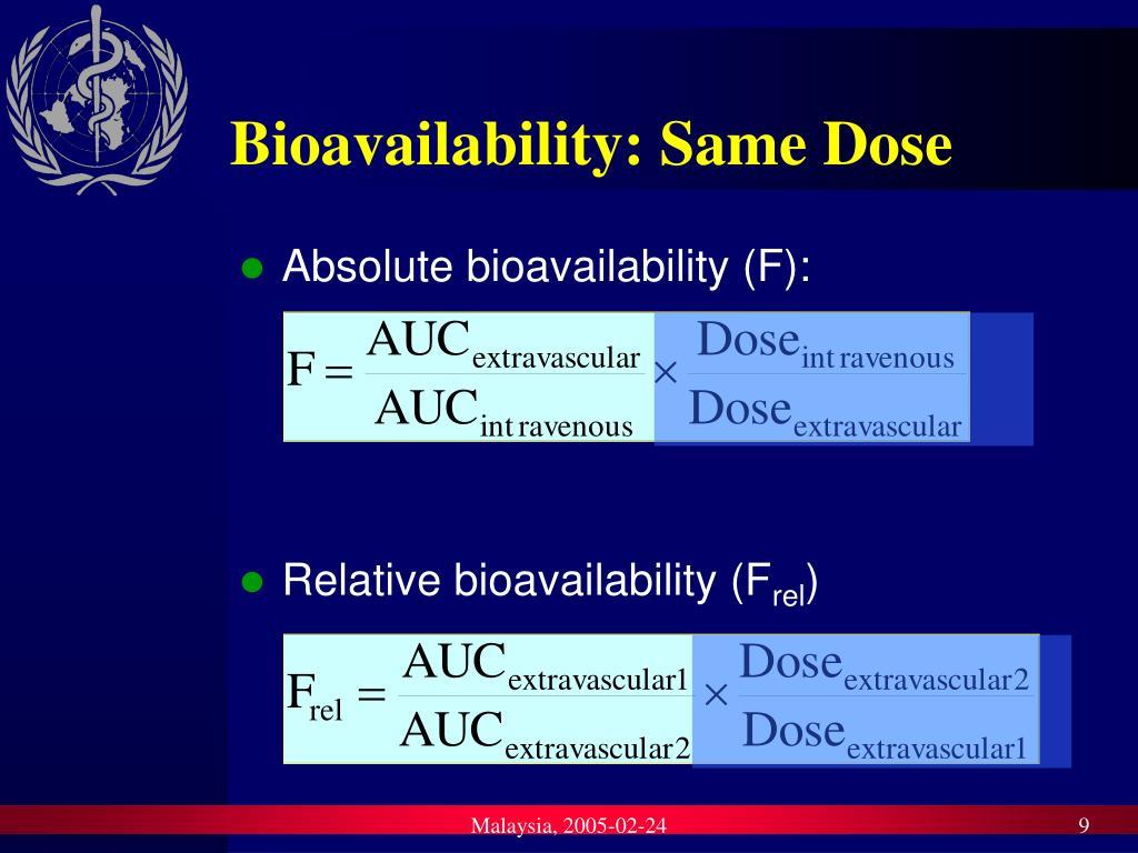 Bioavailability: Same Dose
