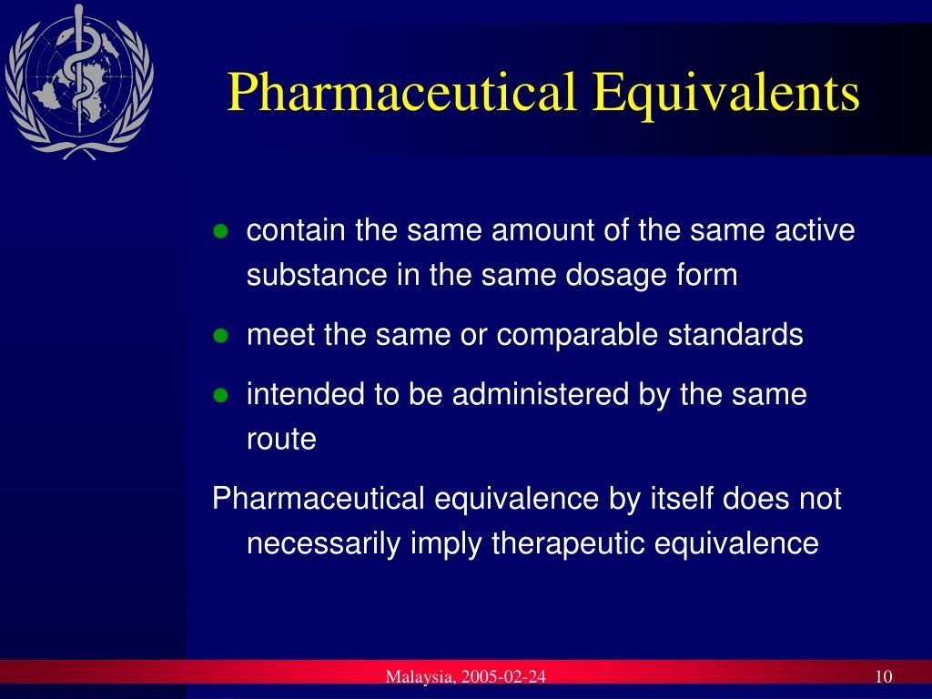 Pharmaceutical Equivalents