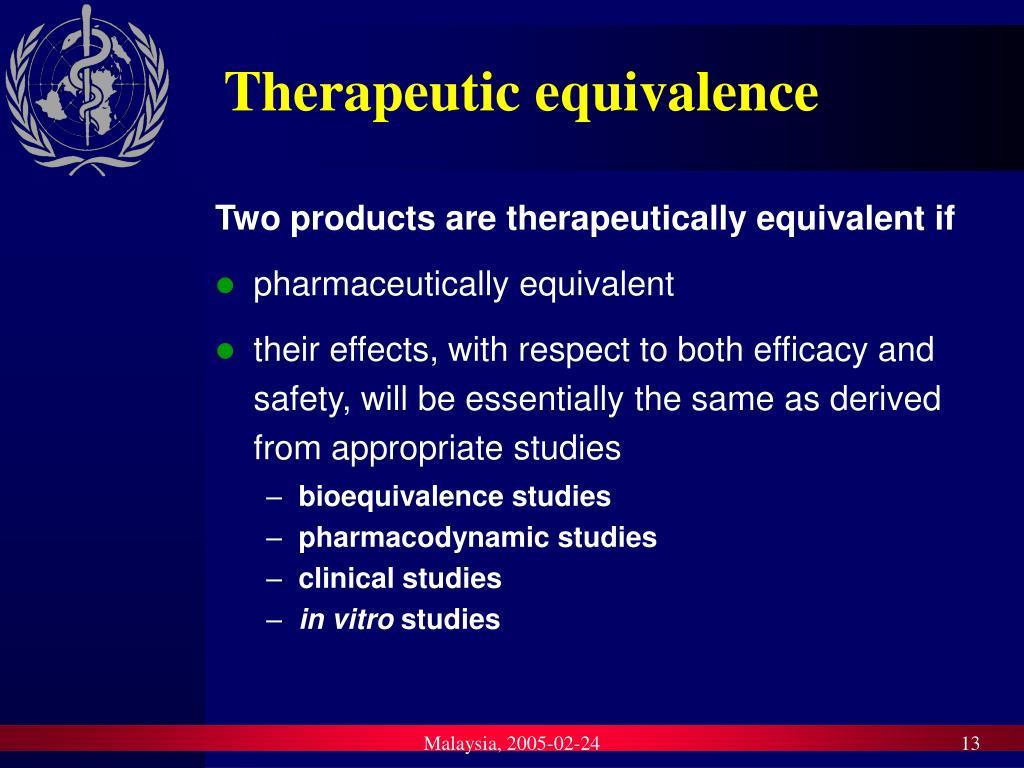 Therapeutic equivalence
