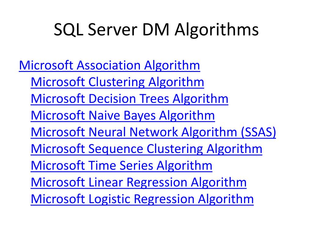 SQL Server DM Algorithms