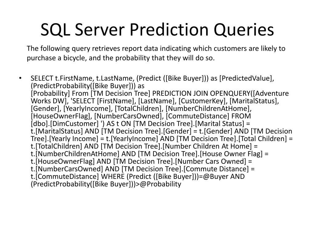 SQL Server Prediction Queries