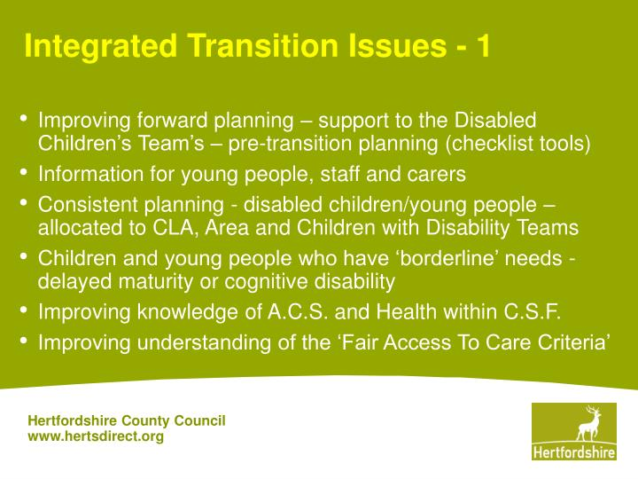 Integrated transition issues 1