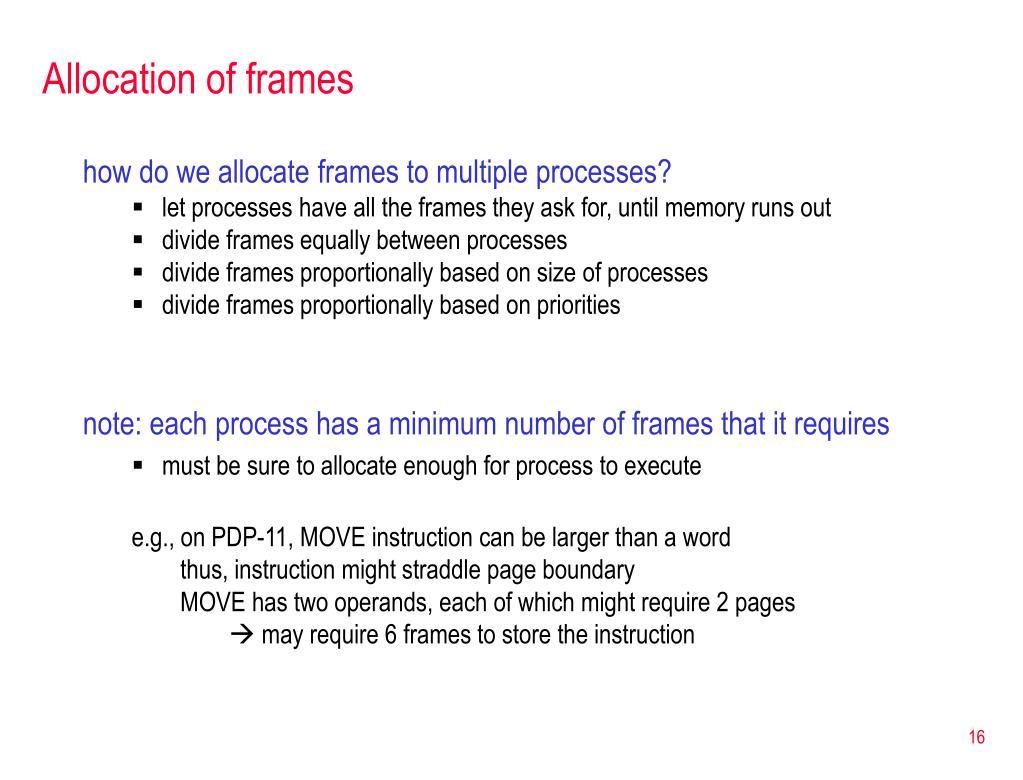 Allocation of frames