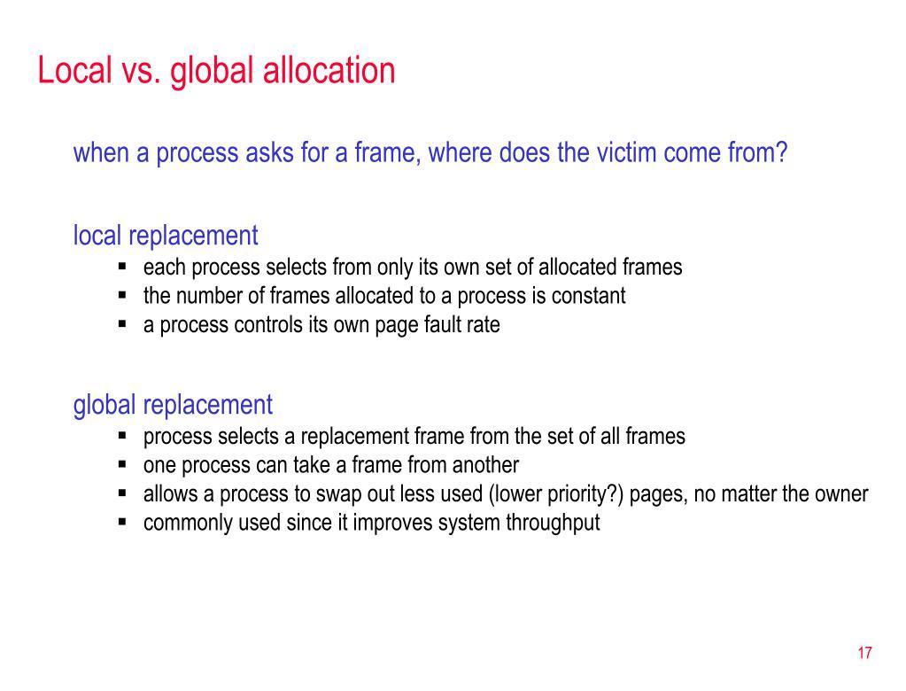 Local vs. global allocation