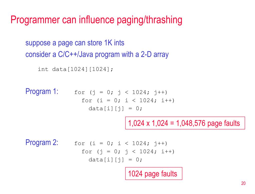 Programmer can influence paging/thrashing