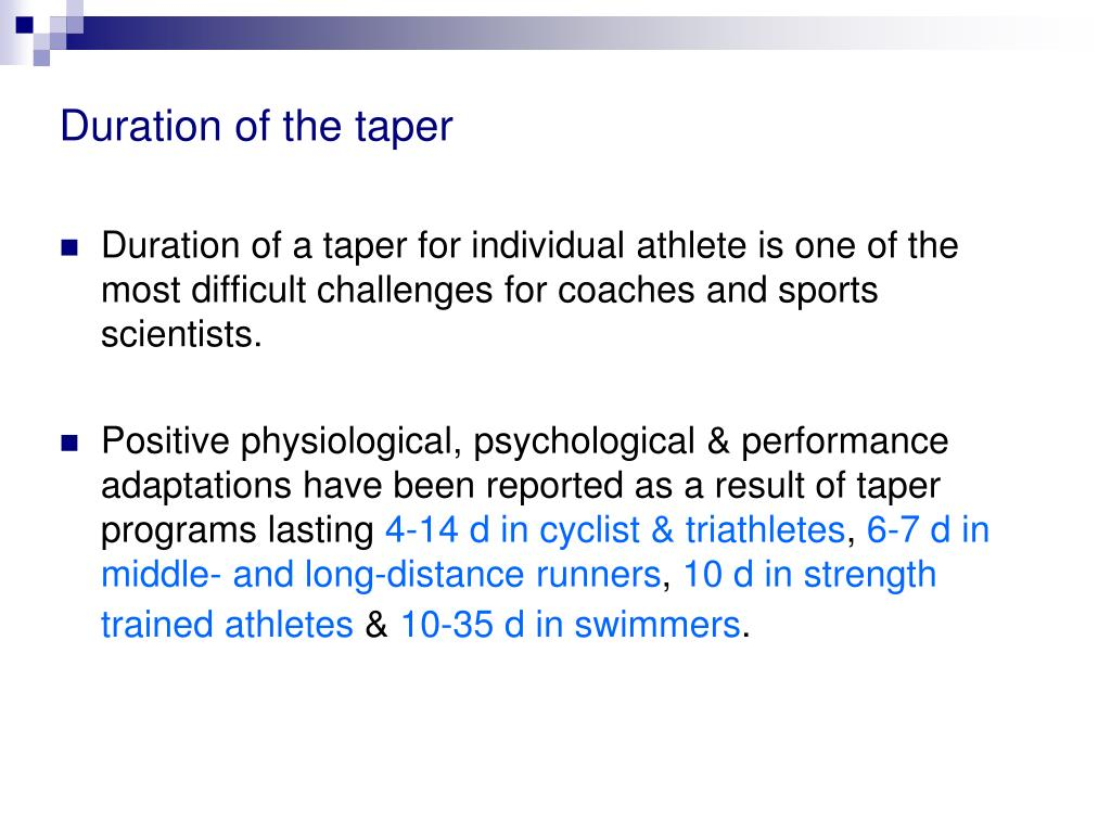 Duration of the taper