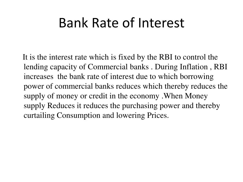 Bank Rate of Interest