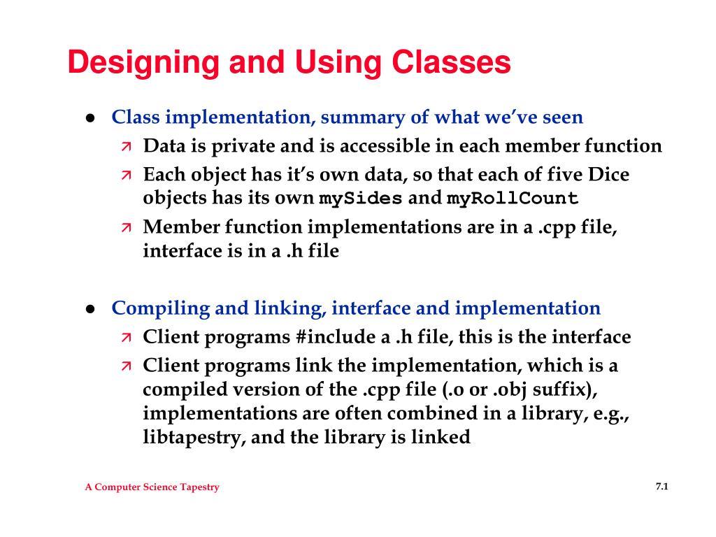 designing and using classes l.