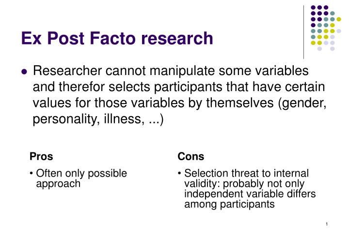 ex post facto research n.