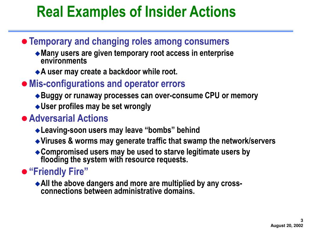 Real Examples of Insider Actions