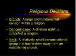 religious divisions