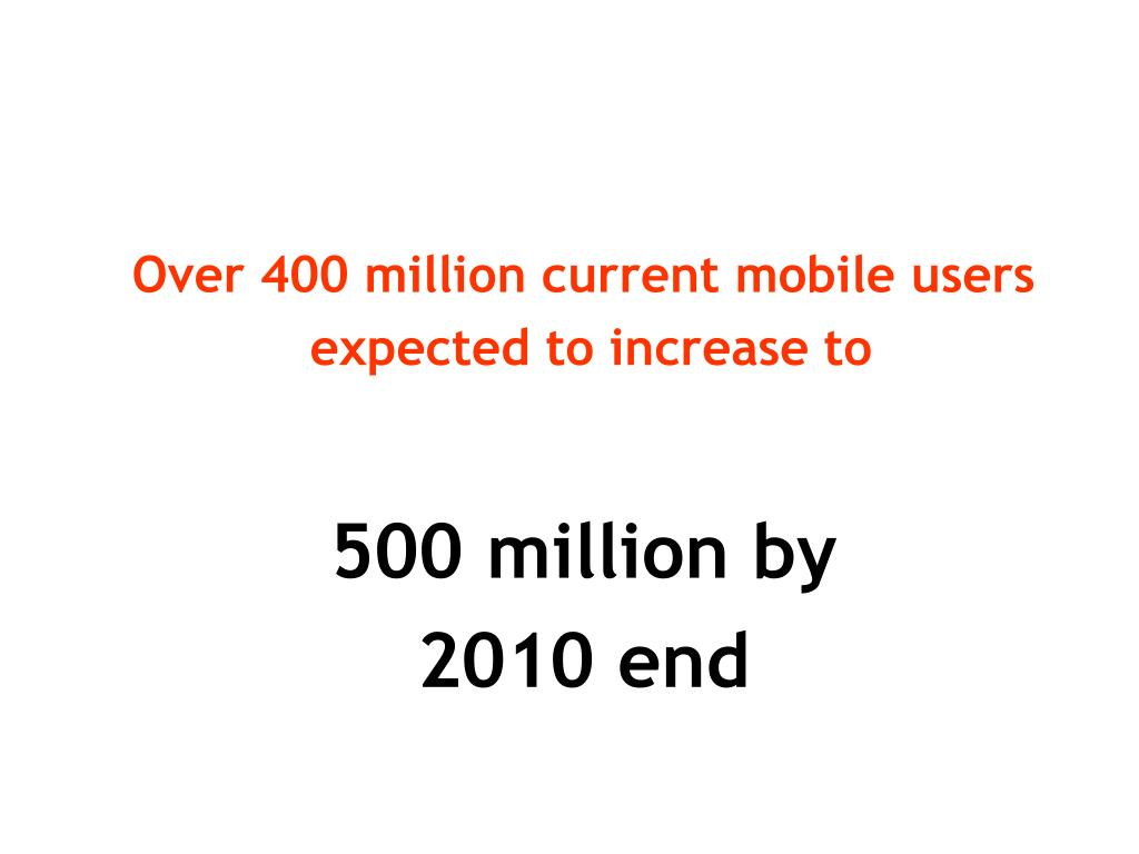 Over 400 million current mobile users