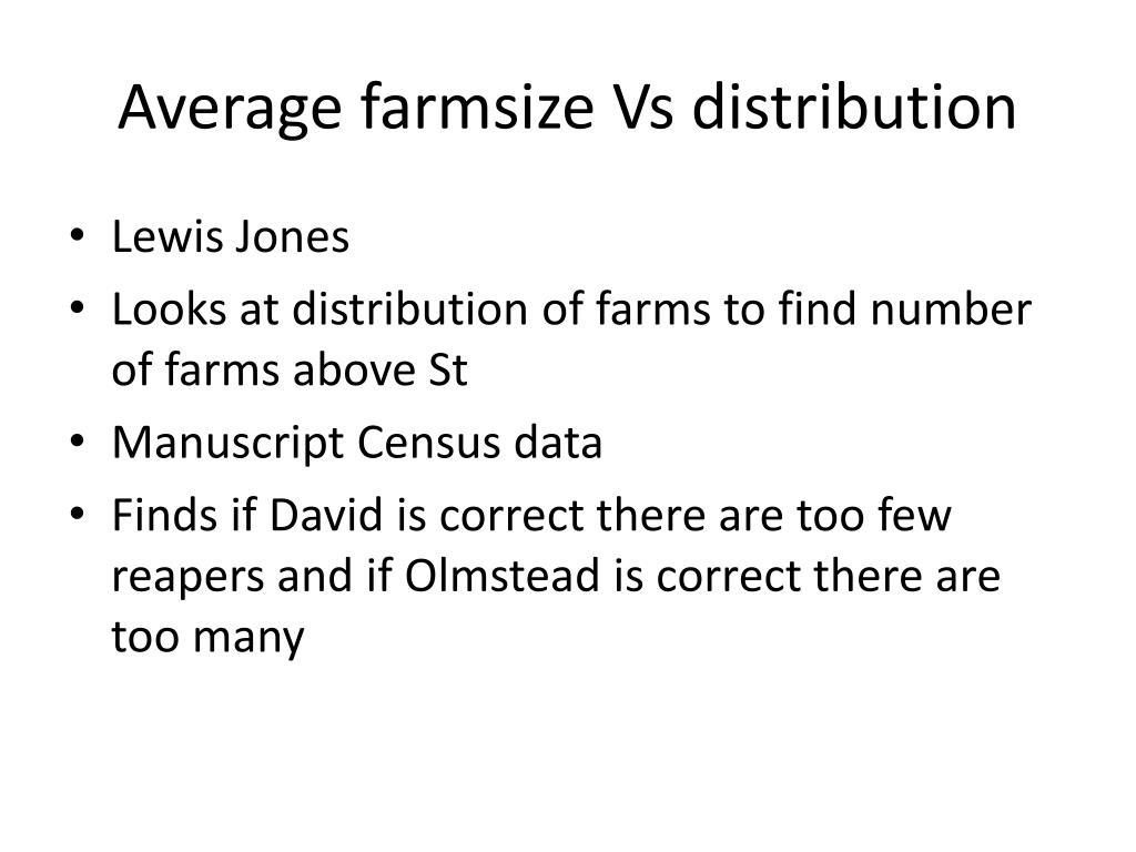 Average farmsize Vs distribution
