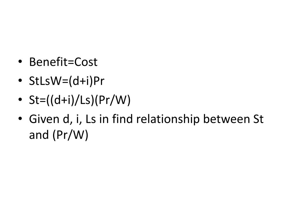 Benefit=Cost