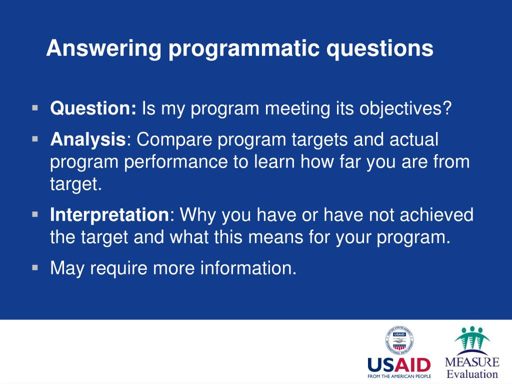 Answering programmatic questions