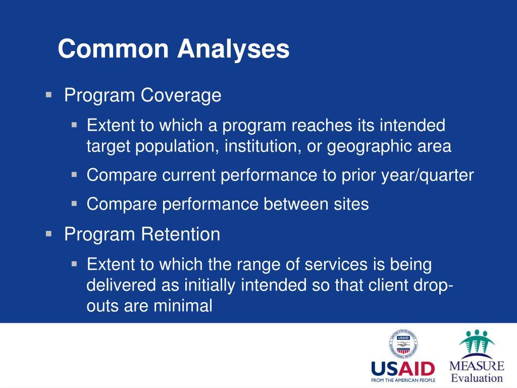 Common Analyses