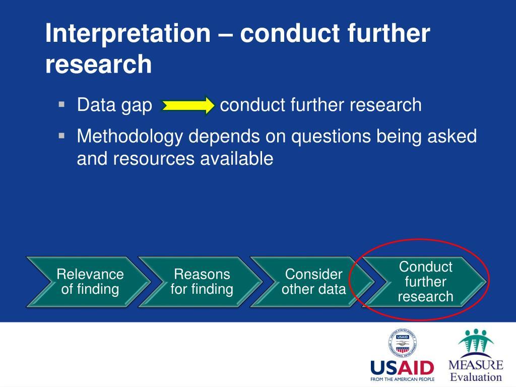 Interpretation – conduct further research