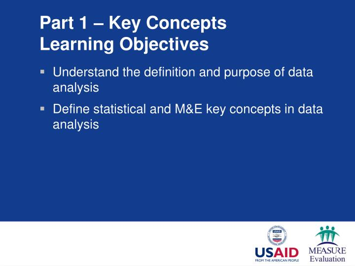 Part 1 key concepts learning objectives