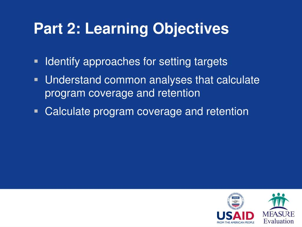 Part 2: Learning Objectives