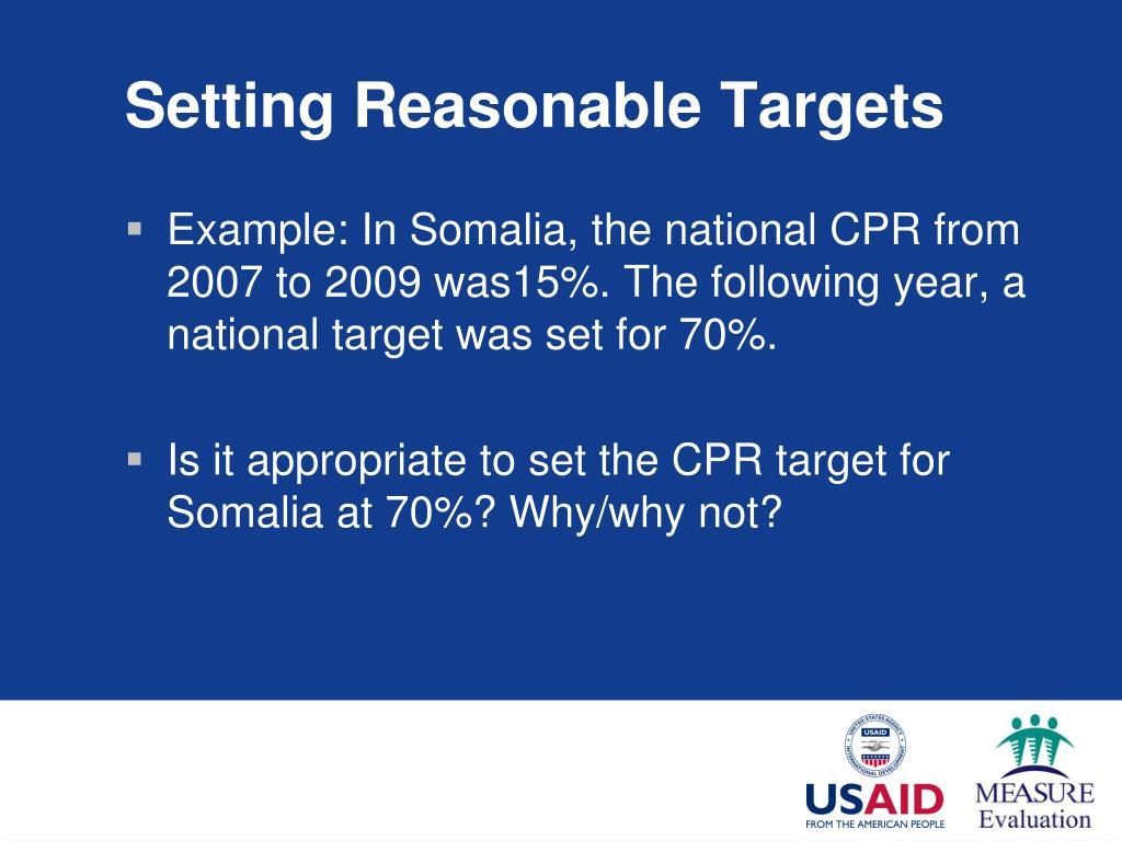 Setting Reasonable Targets