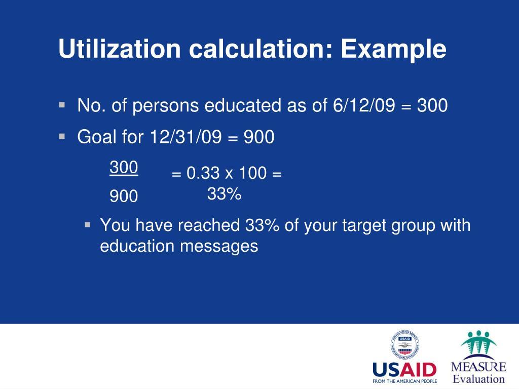Utilization calculation: Example
