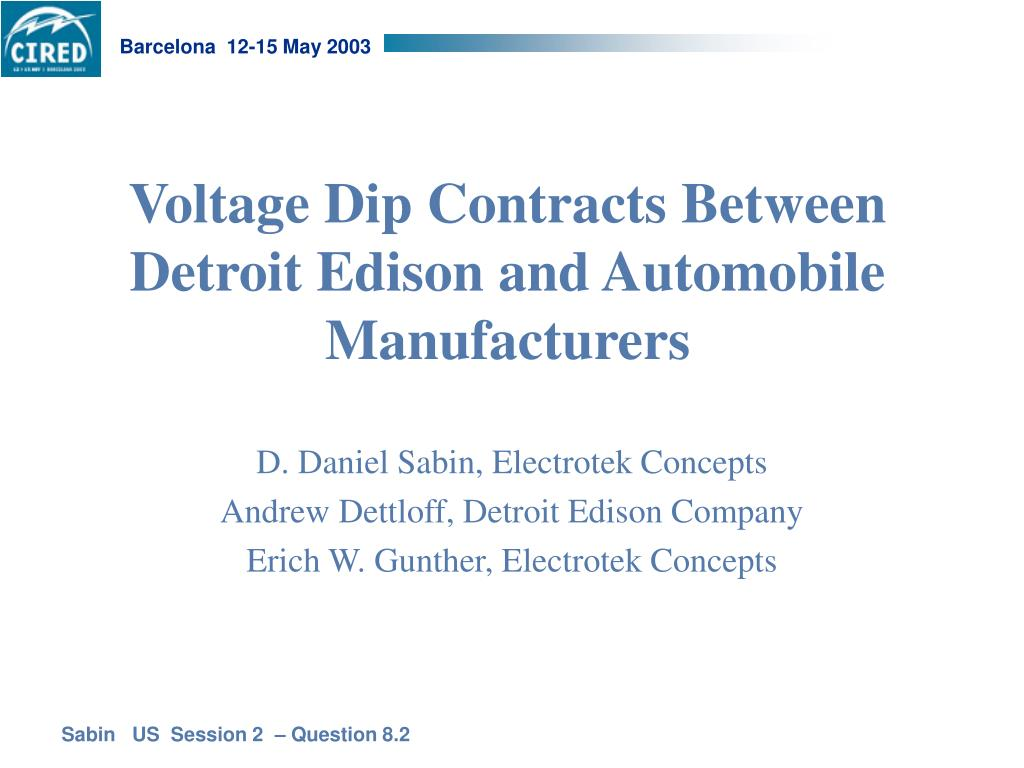 voltage dip contracts between detroit edison and automobile manufacturers l.